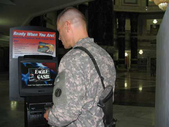 photo of Soldier using the kiosk
